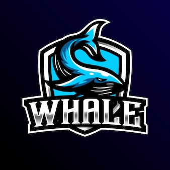 Whale mascot logo esport gaming