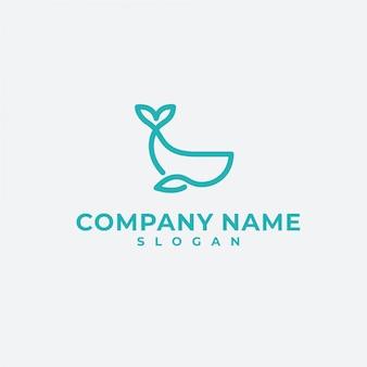 Whale mono line logo