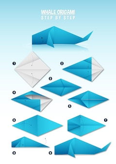 Whale origami instruction step by step