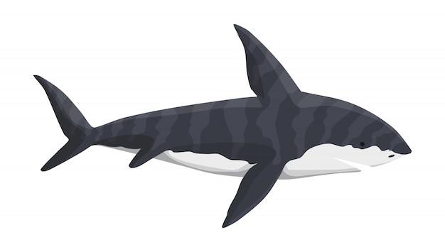 고래 상어 캐릭터. 수중 바다 동물. 큰 위험한 해양 포식자. 해양 야생 동물의 그림