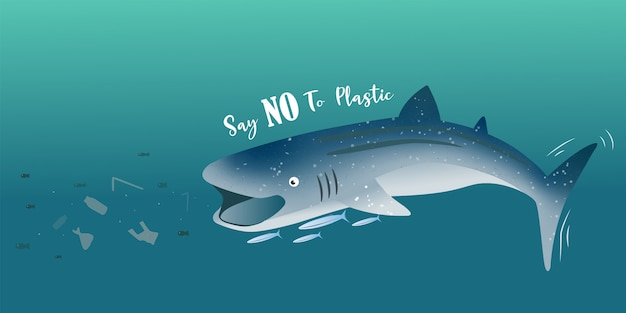 Whale shark eating pieces of plastic banner background