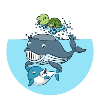 Whale and shark playing together with green tortoise