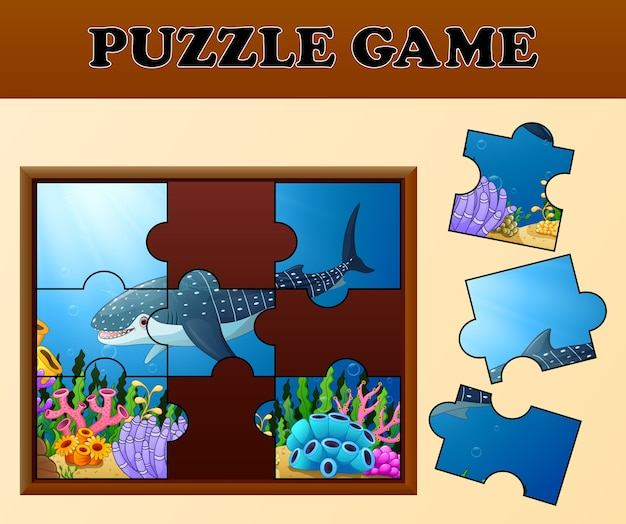 Whale shark in undersea with puzzle concept