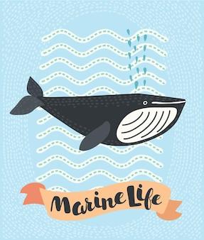 Whale smiling doodle illustration