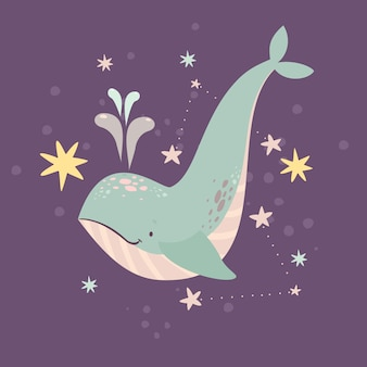 Whale in stars and constellations