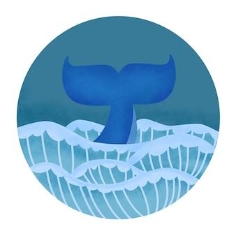 クジラの尾のイラスト