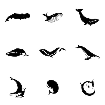クジラのベクトル。シンプルなクジラのイラスト、編集可能な要素、ロゴデザインで使用できます