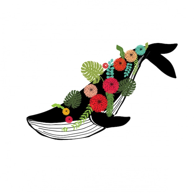 Whale with floral wreath