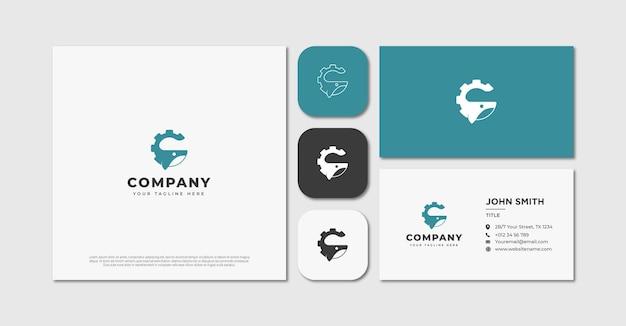 Кит с логотипом шестерни и визитной карточкой
