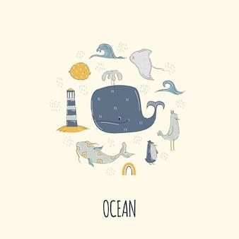 Кит с морскими животными в круглой рамке для детской и детской печати рисованной мультяшном стиле