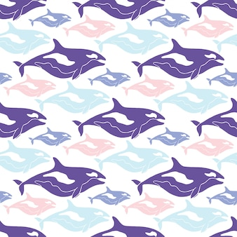 青、ピンク、紫の色のクジラのシームレスなパターン。