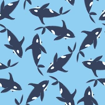 クジラのシームレスなパターン
