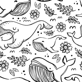 Whales in sketch mother hugs daughter. monochrome cartoon hand drawn seamless pattern