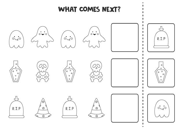 What comes next game with black and white halloween elements. educational logical game for kids.