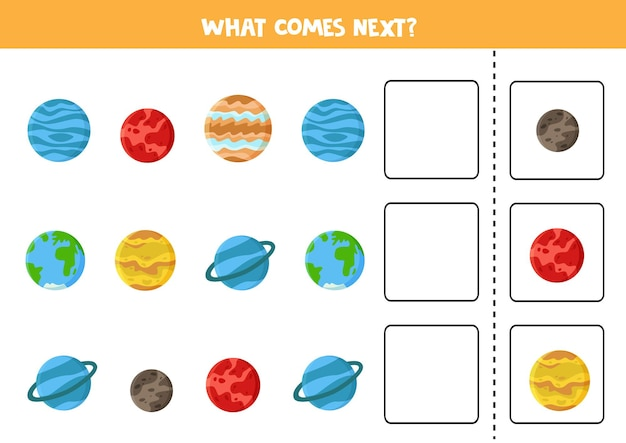 What comes next game with cartoon planets of solar system. educational logical game for kids.