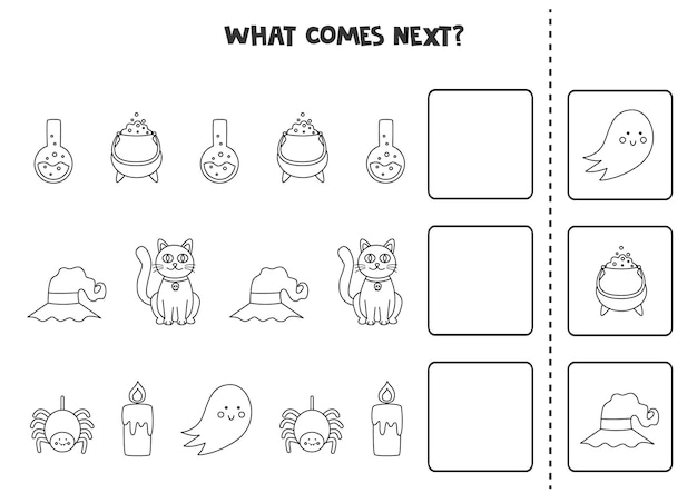 What comes next game with cute black and white halloween elements.