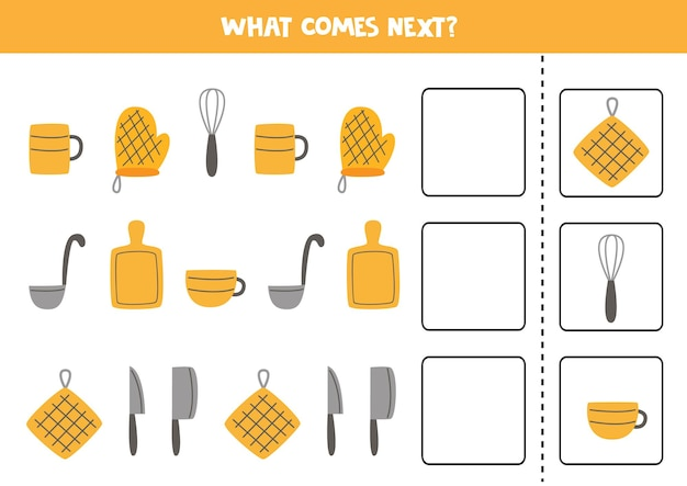 What comes next game with kitchen utensils. educational logical game for kids.