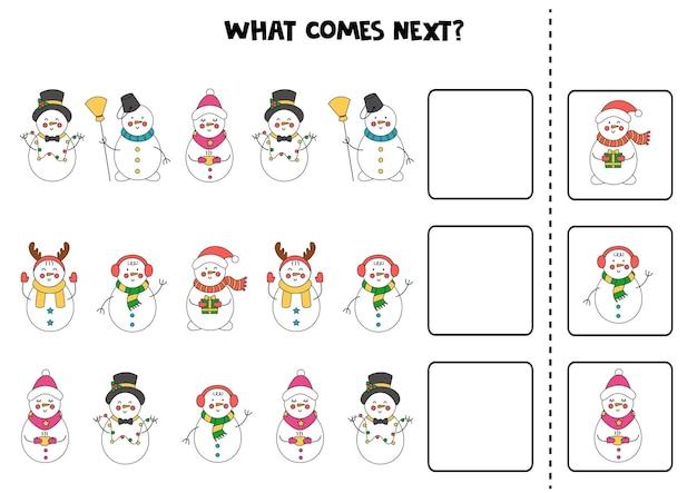 Что будет дальше игра с милыми новогодними снеговиками.