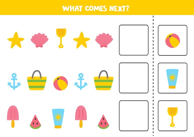 次のゲームは夏の写真で何が来るのか。子供のための教育的な論理ゲーム。