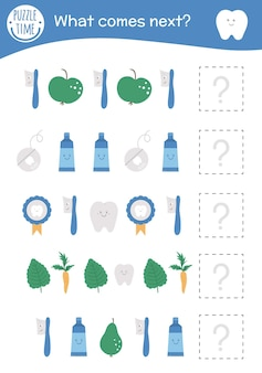 What comes next. tooth hygiene matching activity for preschool children with teeth, toothbrush, apples, floss, toothpaste. funny dental care game for kids. logical quiz worksheet. continue the row.