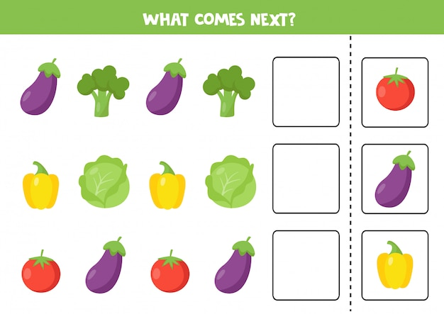 What comes next with cartoon vegetables. eggplant, broccoli, tomato, pepper, cabbage
