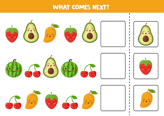 What comes next with cute kawaii fruits. cartoon vector illustration of cherry, strawberry, avocado, watermelon, mango. logical worksheet for kids.