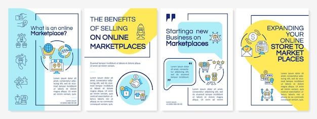 Что такое шаблон брошюры онлайн-торговой площадки. электронные бизнес-идеи. флаер, буклет, печать листовок, дизайн обложки с линейными иконками. векторные макеты для презентаций, годовых отчетов, рекламных страниц