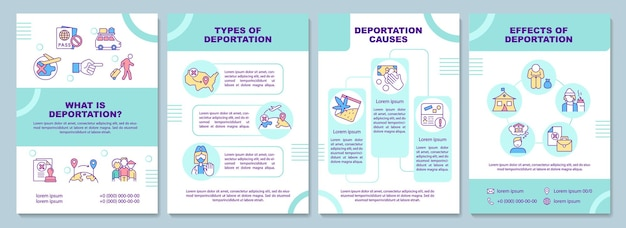 What is deportation brochure template. types and causes. flyer, booklet, leaflet print, cover design with linear icons. vector layouts for presentation, annual reports, advertisement pages