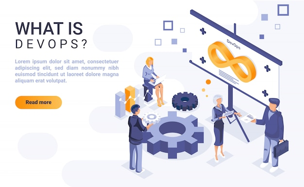 What is devops landing page  with isometric illustration