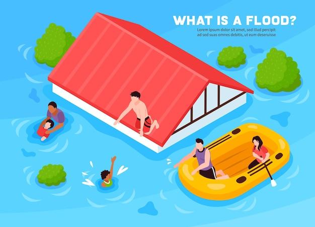 Che cos'è il poster isometrico alluvione con persone che escono di casa su un gommone