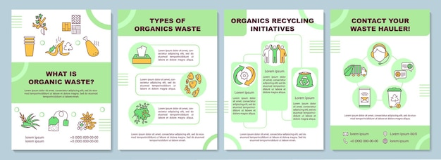 What is organic waste brochure template. types of organics waste. flyer, booklet, leaflet print, cover design with linear icons.  layouts for magazines, annual reports, advertising posters