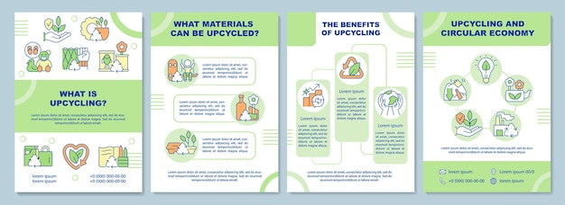 What is upcycling brochure template. recycling of waste. flyer, booklet, leaflet print, cover design with linear icons. vector layouts for presentation, annual reports, advertisement pages