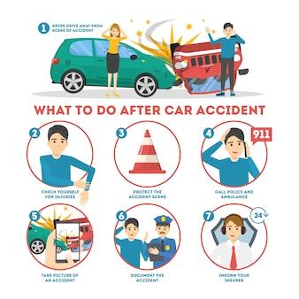 自動車事故のインフォグラフィックバナーの後に何をすべきか