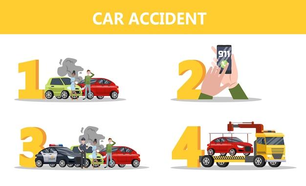Что делать после автомобильной аварии. позвоните в службу 911 и дождитесь полиции. повреждение автомобиля и эвакуатор. изолированные плоские векторные иллюстрации