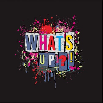 What'up text colorfull vector