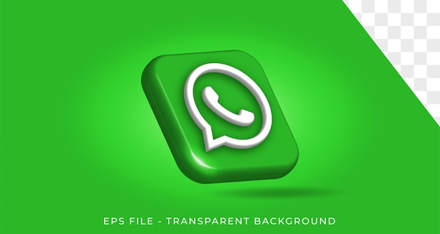 Whatsapp 3d logo style in round corner square icon