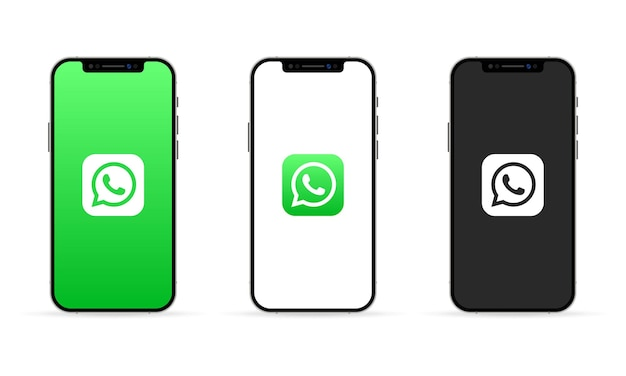Whatsapp app on the iphone screen. social media concept. ui ux white user interface.