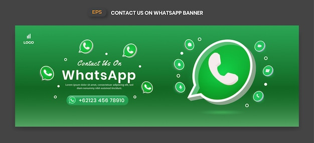 비즈니스 페이지 홍보 및 소셜 미디어 게시물을 위한 3d 벡터 아이콘이 있는 whatsapp 배너