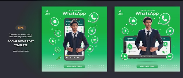 Whatsapp business page promotion with 3d vector for social media post