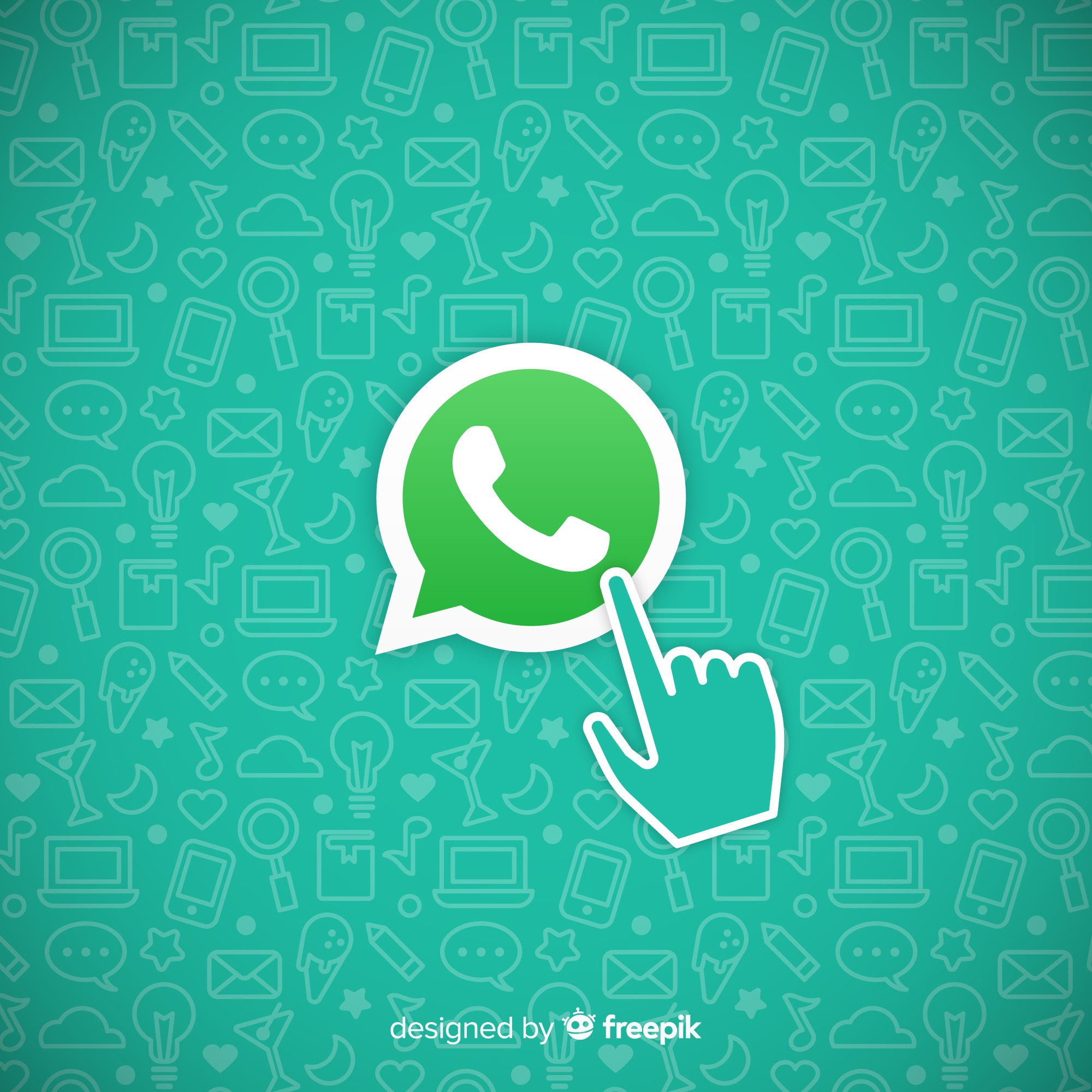 Whatsapp icon with hand