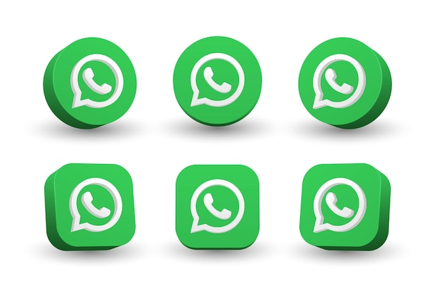 Whatsapp logo icon collection isolated on white