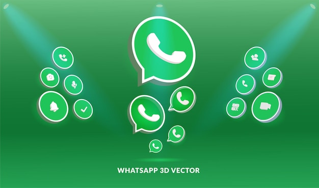 Whatsapp logo and icon set in 3d vector style