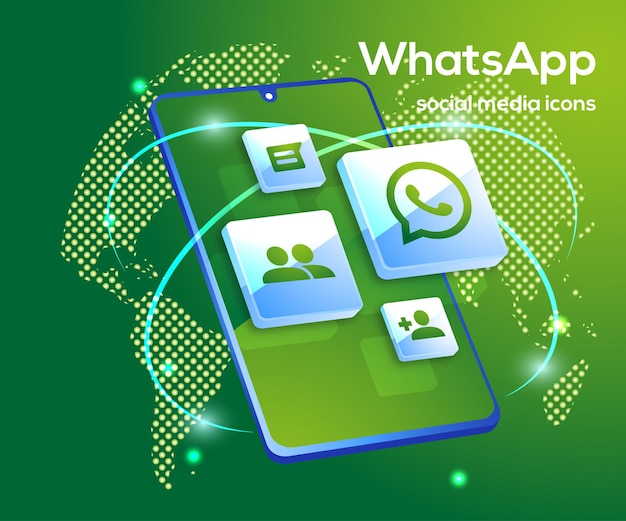 Whatsapp social media icons with smartphone symbol