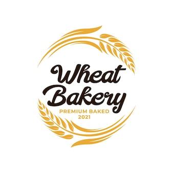 Wheat bakery logo. wheat rice agriculture logo