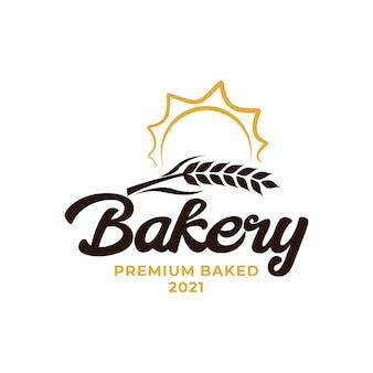 밀 베이커리 로고. 밀 쌀 농업 로고