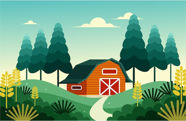 Пшеничный сарай в сельской местности на рассвете
