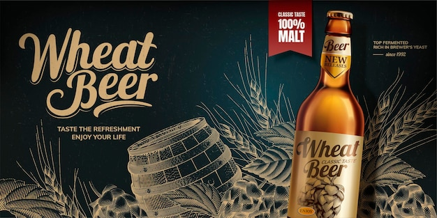 Wheat beer banner on blackboard with engraved hops and barrel in 3d style glass bottle