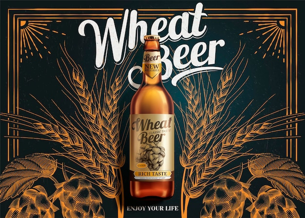 Wheat beer banner laying on blackboard with engraved hops in 3d style