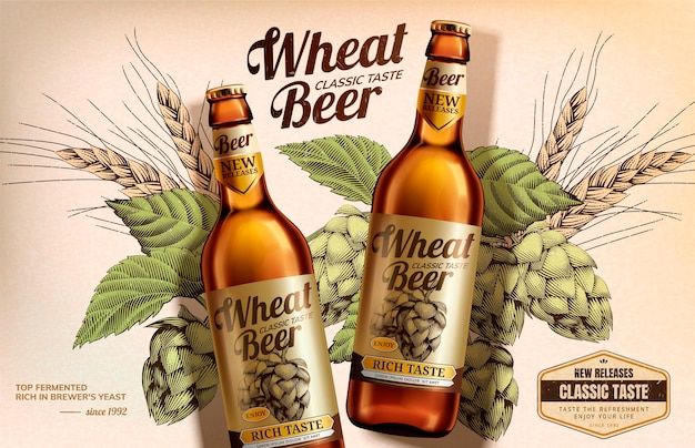 Wheat beer banner with woodcut style hops elements in 3d style