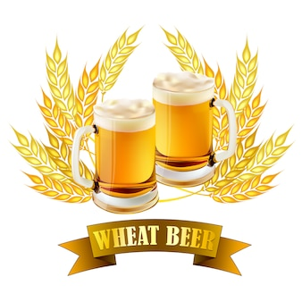Wheat beer illustration for brewery products.